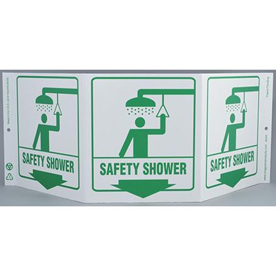Safety Shower Tri View Sign