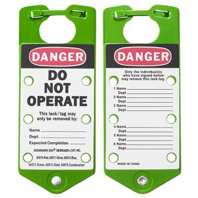 Brady Labeled Lockout Hasps (Green) - Part Number - 65973 - 5/Pack
