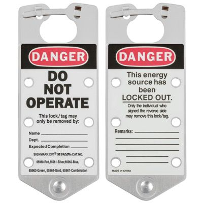 Brady Labeled Lockout Hasps (Silver) - Part Number - 65961 - 5/Pack