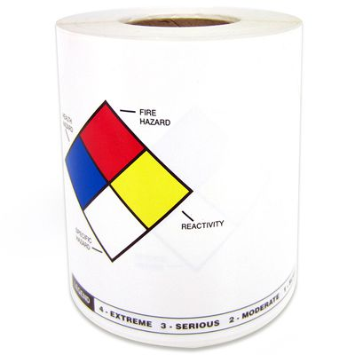 LabelTac® LT46NFPA NFPA/RTK Die-Cut Labels - Black/Blue/Red/Yellow on White