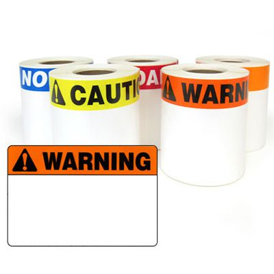 LabelTac® LT35WARN Pre-Printed Header Die-Cut Labels