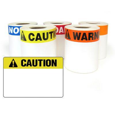 LabelTac® LT35CAUT Pre-Printed Header Die-Cut Labels - Caution