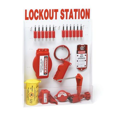 Brady Machine Isolation Lockout Station - Contains 46 Lockout Devices, Including Nylon Keyed Different Padlocks