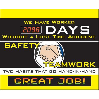LED Message Safety Scoreboard - Safety Teamwork