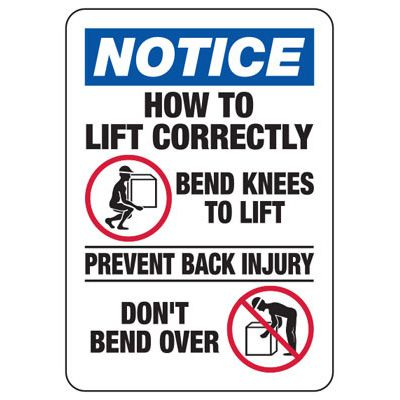 Notice How To Lift Correctly - Lifting Signs
