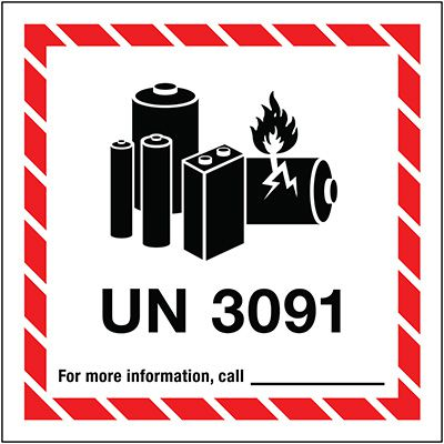 Lithium Battery Label UN3091
