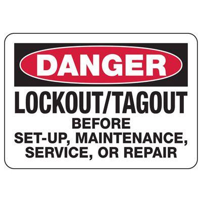 Lockout Danger Signs - Danger Lockout/Tagout