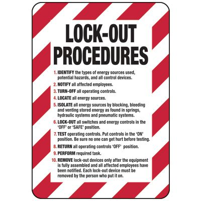 Lockout Procedures Sign