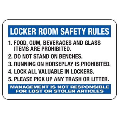 Locker Room Safety Rules - Locker Room Signs