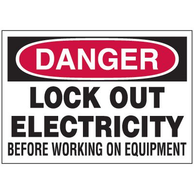 Lockout Hazard Warning Labels - Danger Lock Out Electricity
