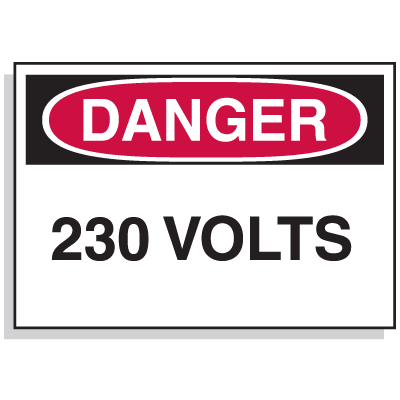 Lockout Hazard Warning Labels- Danger 230 Volts