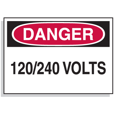 Lockout Hazard Warning Labels- Danger 120/240 Volts
