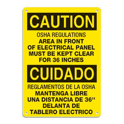 Lockout/Electrical Signs - Bilingual - OSHA Regulations