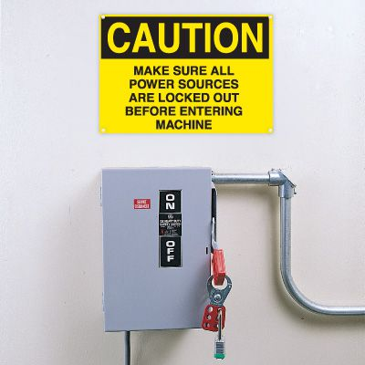 Lockout Signs - Make Sure All Power Sources Are Locked Out Before Entering Machine