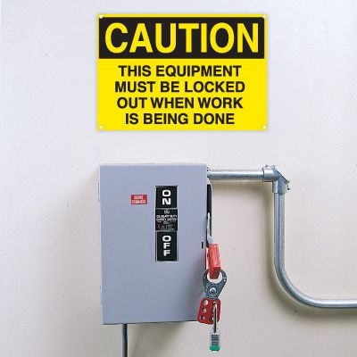 Lockout Signs- This Equipment Must Be Locked Out When Work Is Being Done