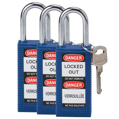 Brady Long Body Keyed Alike One and Half inch Shackle Safety Locks - Blue - Part Number - 123415 - 3/Pack