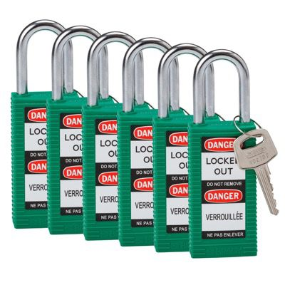 Brady Long Body Keyed Alike One and Half inch Shackle Safety Locks - Green - Part Number - 123425 - 6/Pack