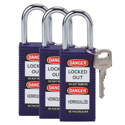 Brady Long Body Keyed Alike One and Half inch Shackle Safety Locks - Purple - Part Number - 123421 - 3/Pack