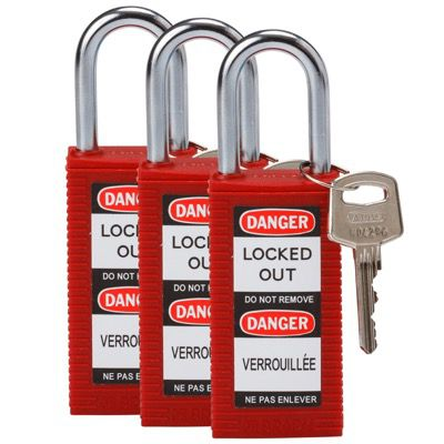 Brady Long Body Keyed Alike One and Half inch Shackle Safety Locks - Red - Part Number - 123414 - 3/Pack
