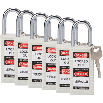 Brady Long Body Keyed Different One and Half inch Shackle Safety Locks - White - Part Number - 123404 - 6/Pack