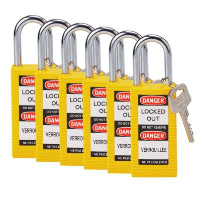 Brady Long Body Keyed Alike One and Half inch Shackle Safety Locks - Yellow - Part Number - 123426 - 6/Pack