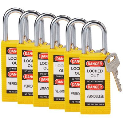 Brady Long Body Keyed Different One and Half inch Shackle Safety Locks - Yellow - Part Number - 123399 - 6/Pack