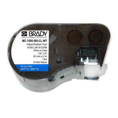 Brady MC-1500-595-CL-WT BMP51/53 Label Cartridge - White on Clear