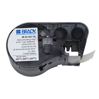 Brady M-53-427-YL BMP51/BMP41 Label Cartridge - Black on Yellow
