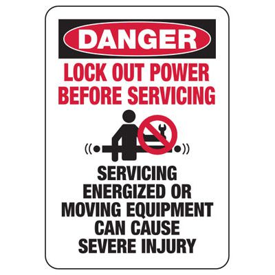 Danger Lock Out Power - Industrial OSHA Machine Hazard Sign