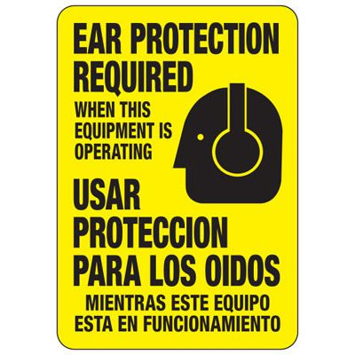 Billingual Ear Protection Required When Operating - Ear Protection Sign