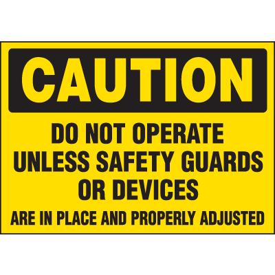Machine Hazard Warning Labels - Caution Do Not Operate