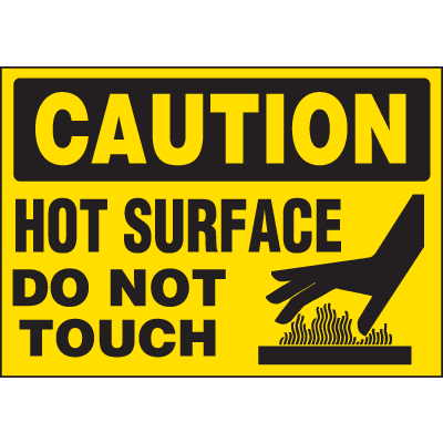 Machine Hazard Warning Labels - Caution Hot Surface Do Not Touch