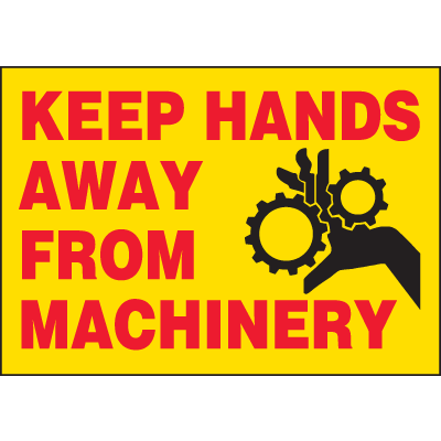 Machine Hazard Warning Labels - Keep Hands Away