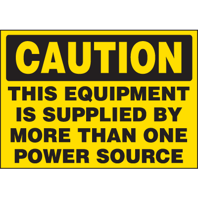 Machine Hazard Warning Labels - Caution Multiple Power Source