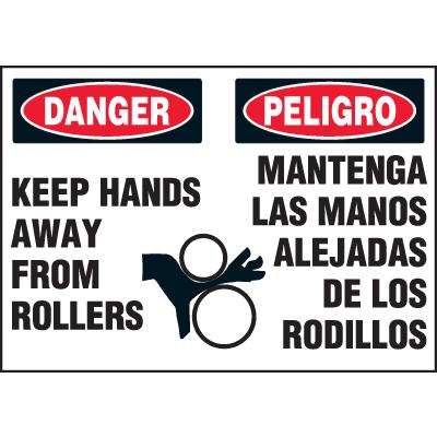 Machine Hazard Warning Labels - Bilingual - Danger Keep Hands Away