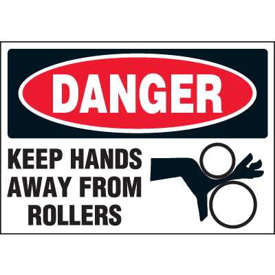 Machine Hazard Warning Labels - Danger Keep Hands Away From Rollers