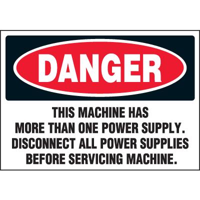 Machine Hazard Warning Labels - Danger Disconnect Power Supplies Before Servicing