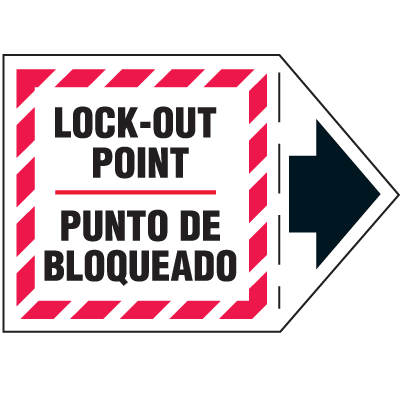 Machine Safety Arrow Labels - Lock-Out Point/Punto De Bloqueado