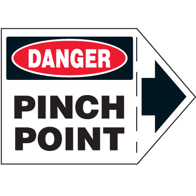 Machine Safety Arrow Labels - Danger Pinch Point