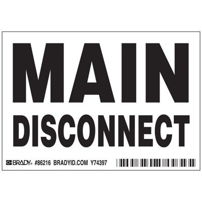 Brady Main disconnect Labels - Part Number - 86216 - 5/Pack
