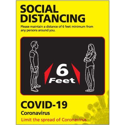 Maintain 6 Feet Social Distancing Poster