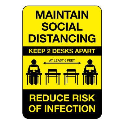 Maintain Social Distancing Keep 2 Desks Apart Sign