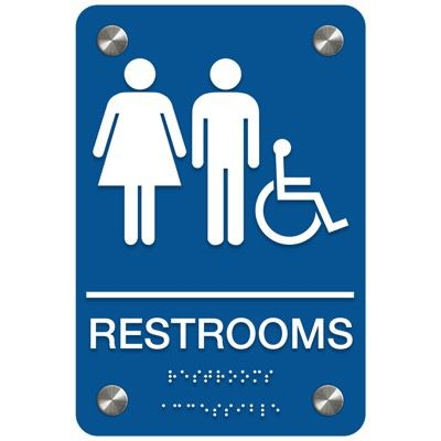 Man/Woman Restroom (Accessibility) - Bilingual Premium ADA Restroom Signs