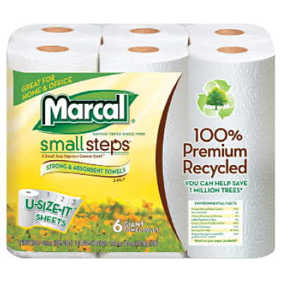 Marcal® Small Steps™ 100% Premium Recycled™ Perforated Maxi Roll Towels MRC6181PK