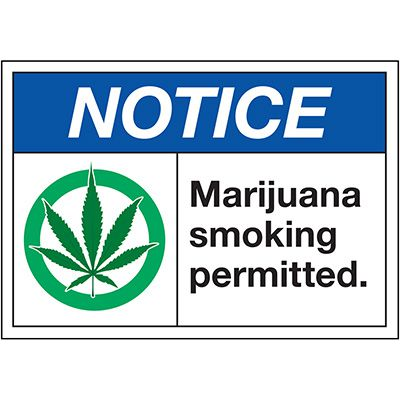 Marijuana Smoking Permitted - Notice Labels
