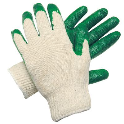 MCR Safety Green Latex Palm and Finger Dip Gloves