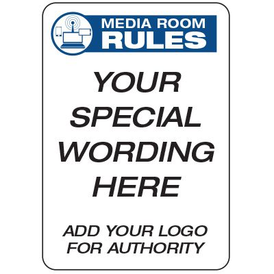 Media Room Rules  - Custom School Safety Signs