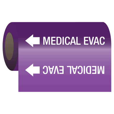 Medical Gas Self-Adhesive Pipe Markers-On-A-Roll - Medical Evac