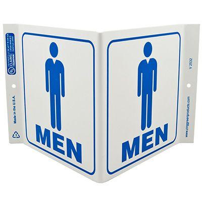 Men Restroom V-Style Sign