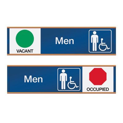 Men W/ Accessibility Vacant/Occupied - Engraved Restroom Sliders